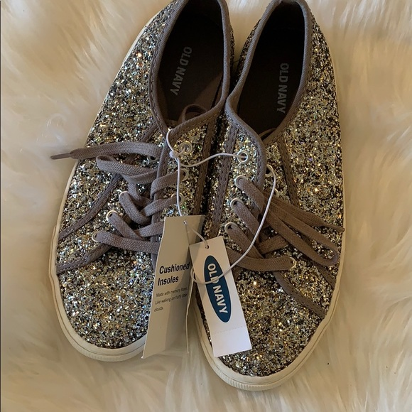 Old Navy Shoes Silver Glitter Tennis Shoe By Old Navy Nwob Sz 8 Poshmark